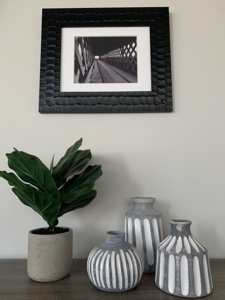 Decoritive Office Picture with Plant and table ornaments